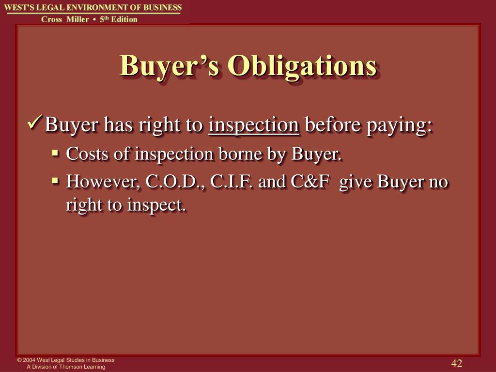 Buyer's Obligations