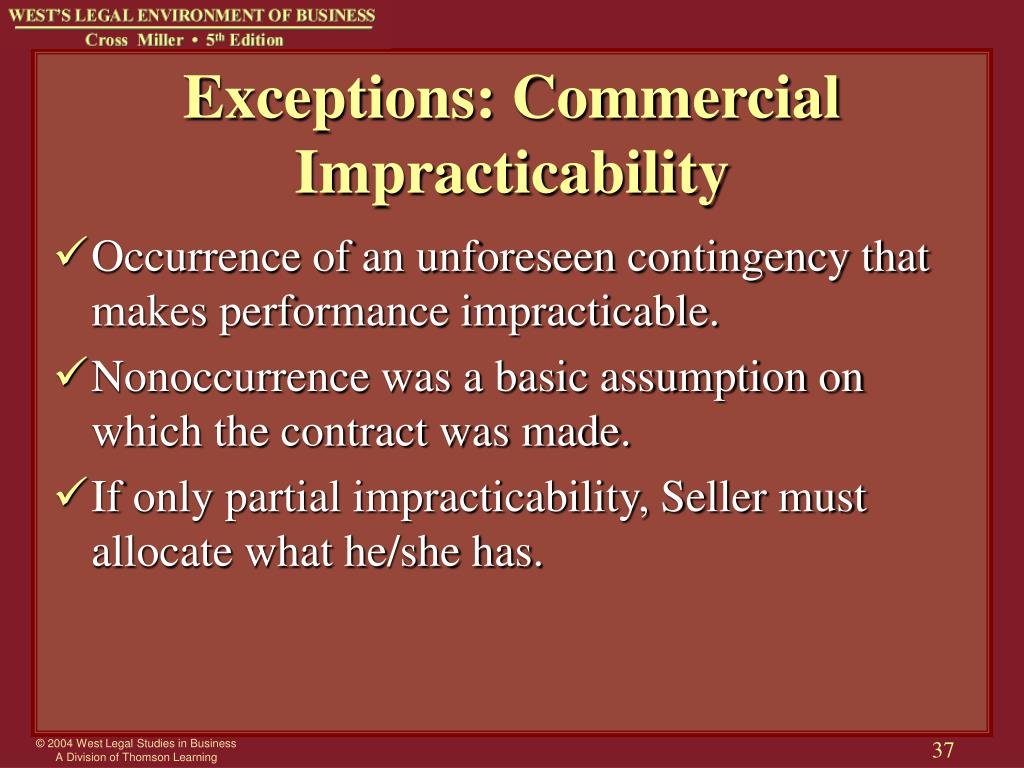 Exceptions: Commercial Impracticability