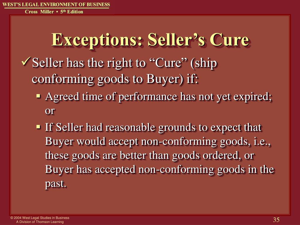 Exceptions: Seller's Cure