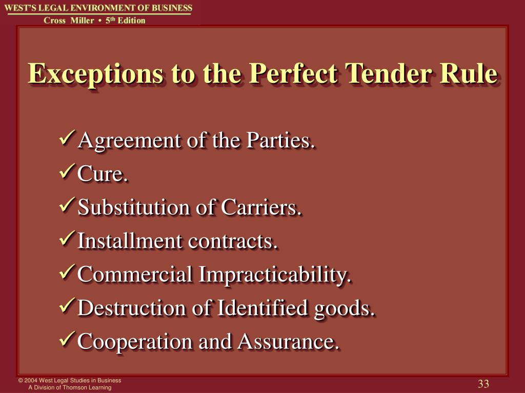 Exceptions to the Perfect Tender Rule