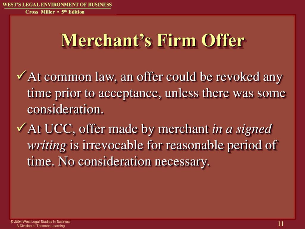 Merchant's Firm Offer