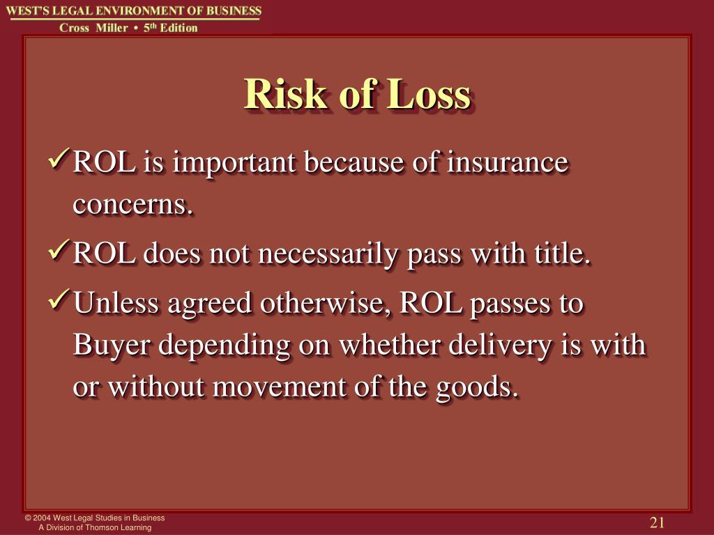 Risk of Loss