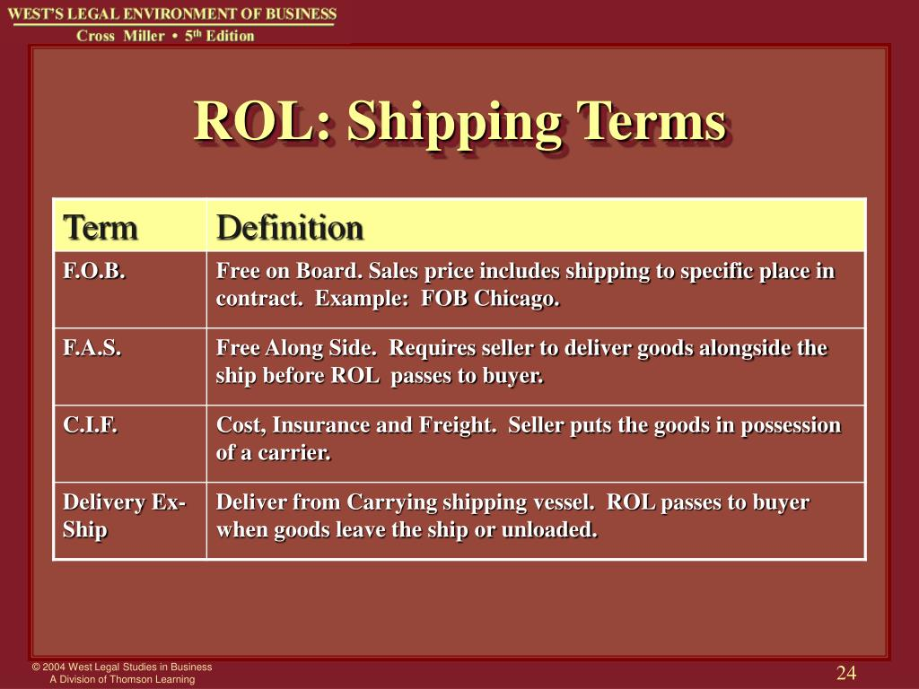 ROL: Shipping Terms