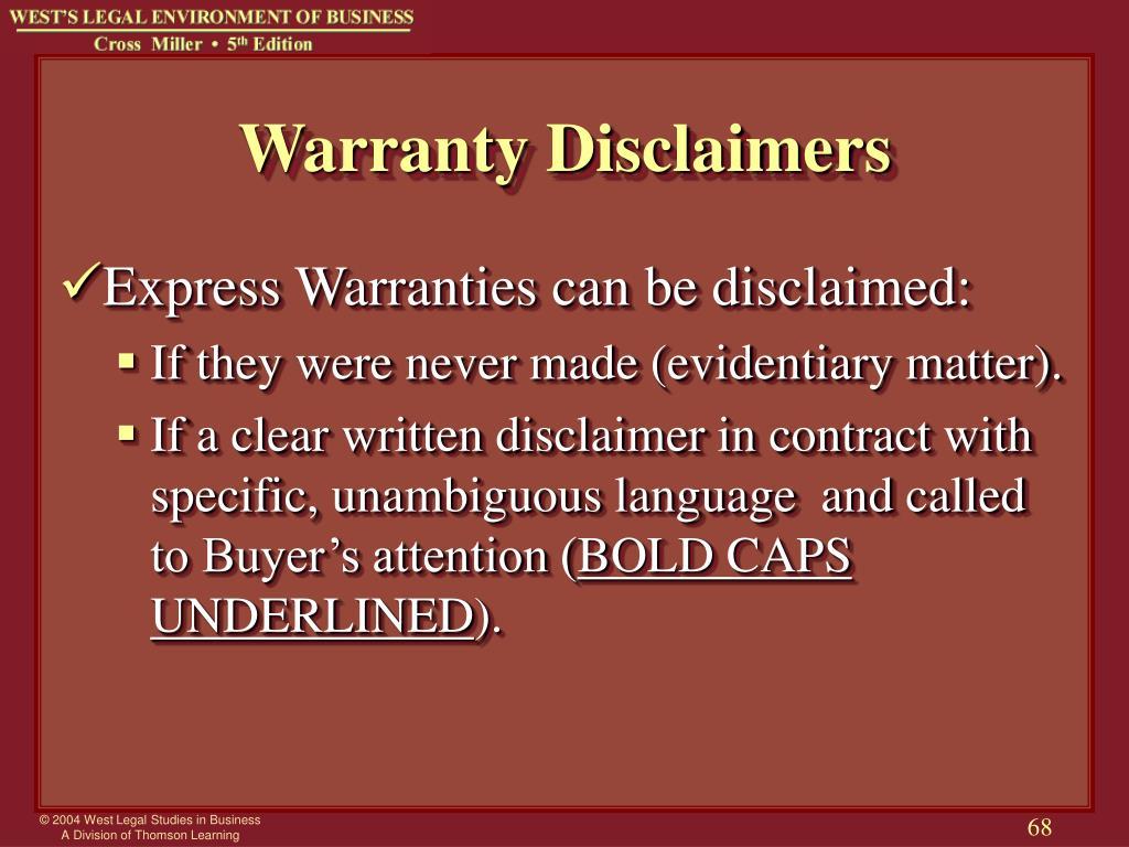 Warranty Disclaimers