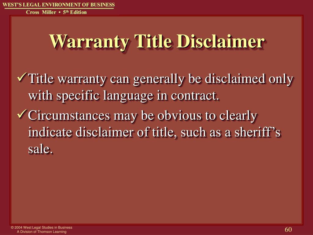 Warranty Title Disclaimer