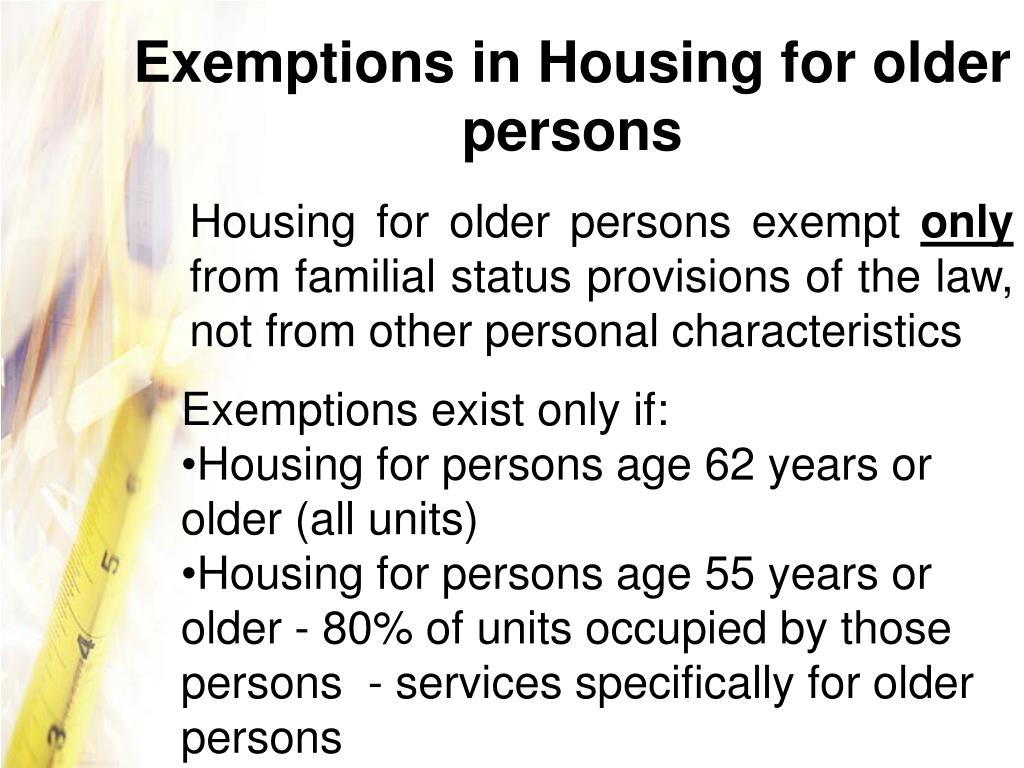 Exemptions in Housing for older persons