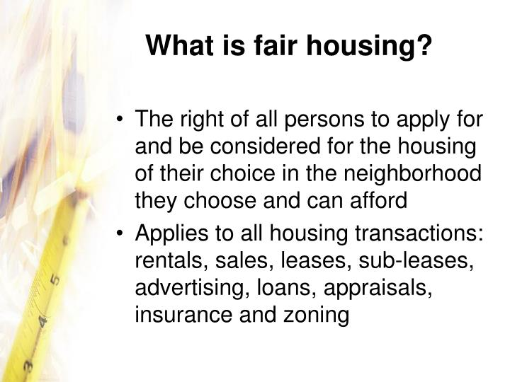 What is fair housing