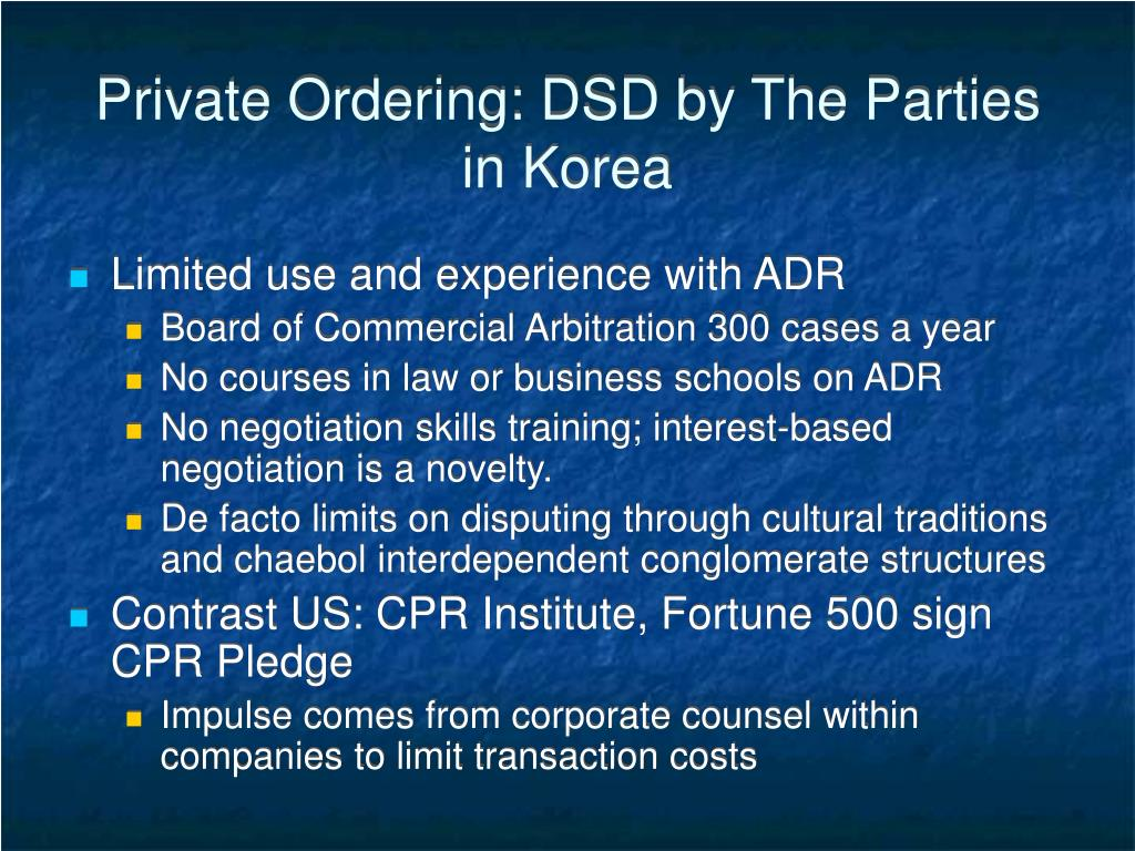 Private Ordering: DSD by The Parties in Korea