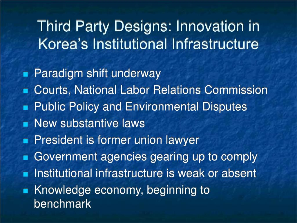 Third Party Designs: Innovation in Korea's Institutional Infrastructure