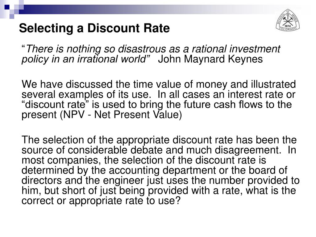 Selecting a Discount Rate