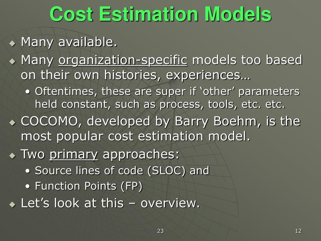 Cost Estimation Models
