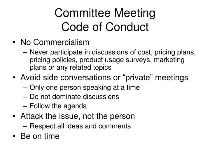 Committee meeting code of conduct