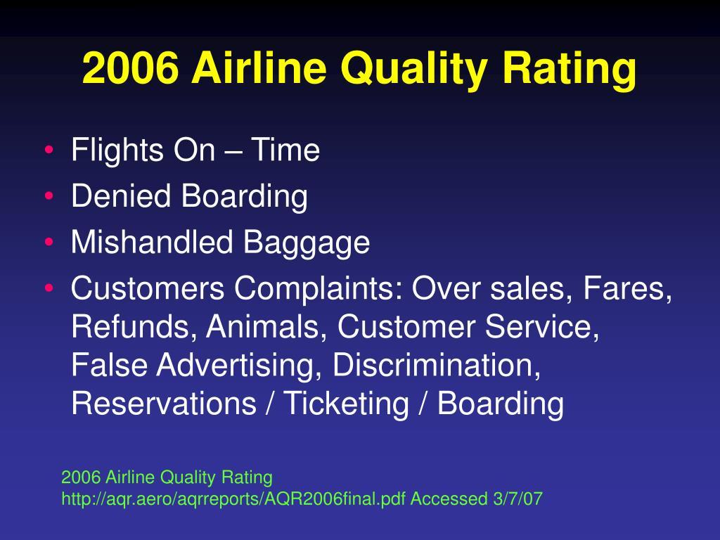 2006 Airline Quality Rating