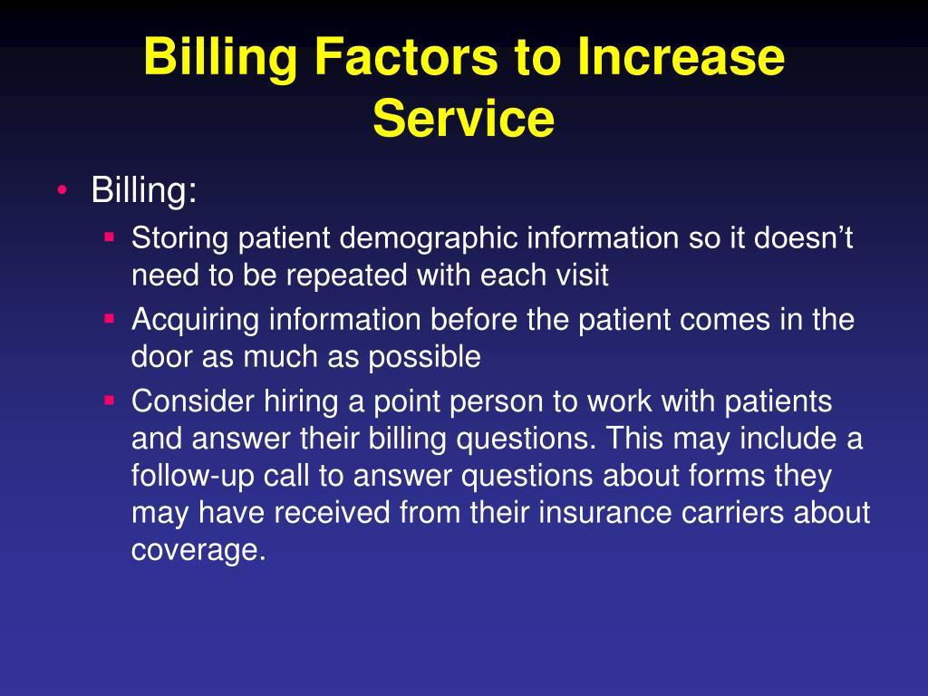 Billing Factors to Increase Service