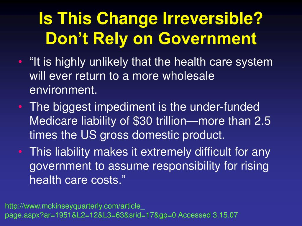 Is This Change Irreversible? Don't Rely on Government