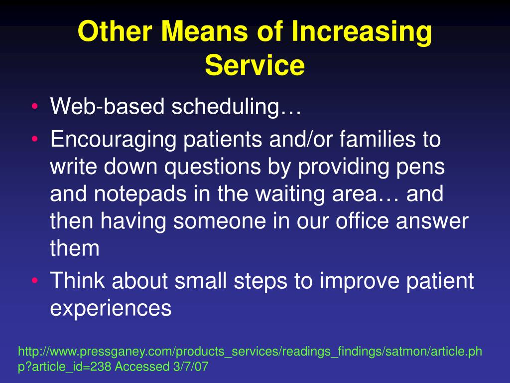Other Means of Increasing Service
