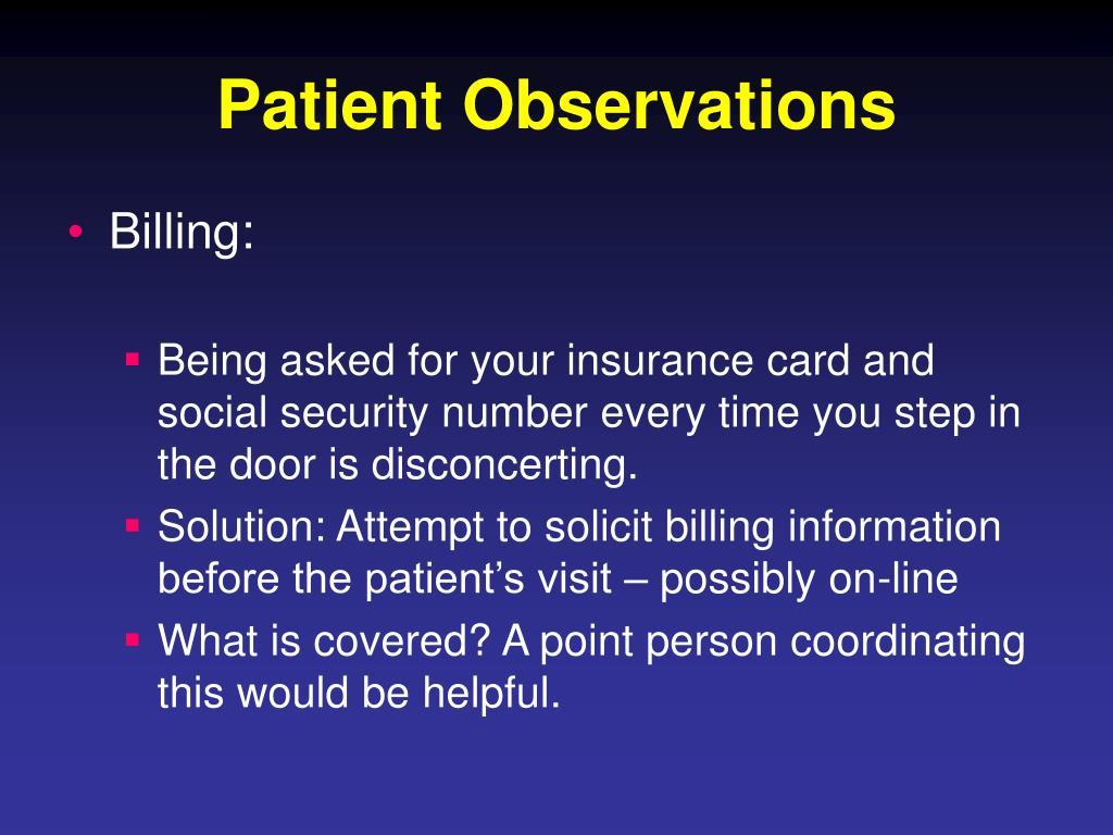 Patient Observations