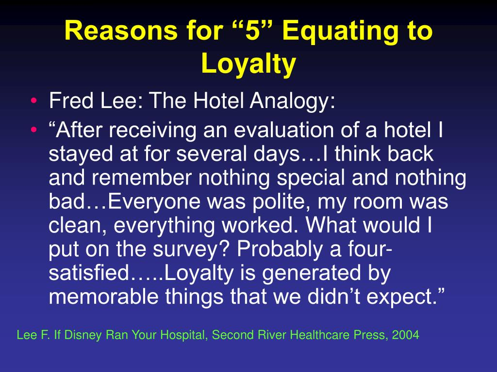 """Reasons for """"5"""" Equating to Loyalty"""
