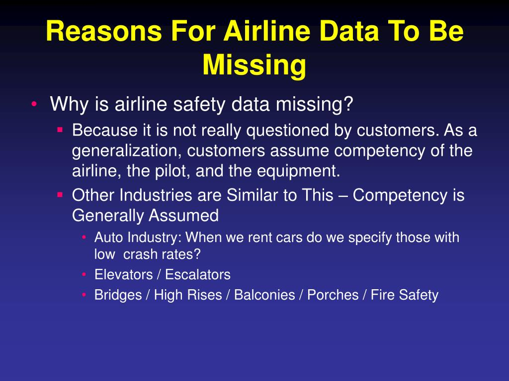 Reasons For Airline Data To Be Missing