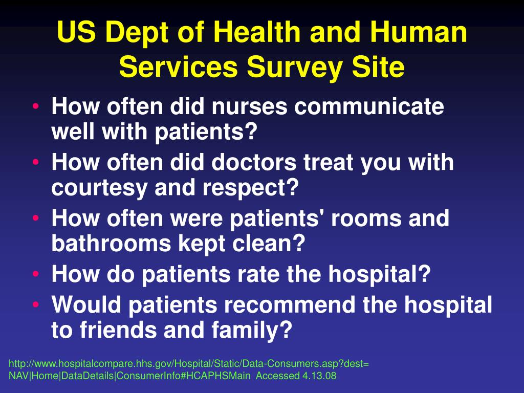 US Dept of Health and Human Services Survey Site