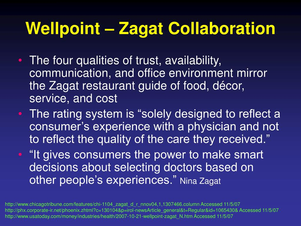 Wellpoint – Zagat Collaboration