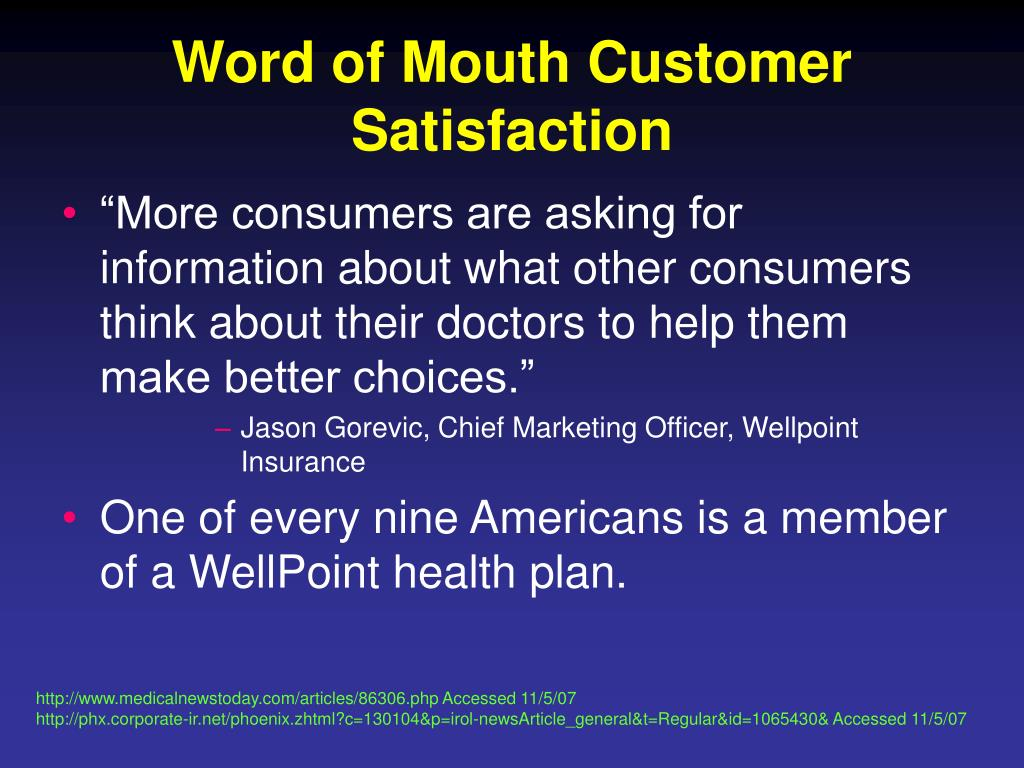 Word of Mouth Customer Satisfaction
