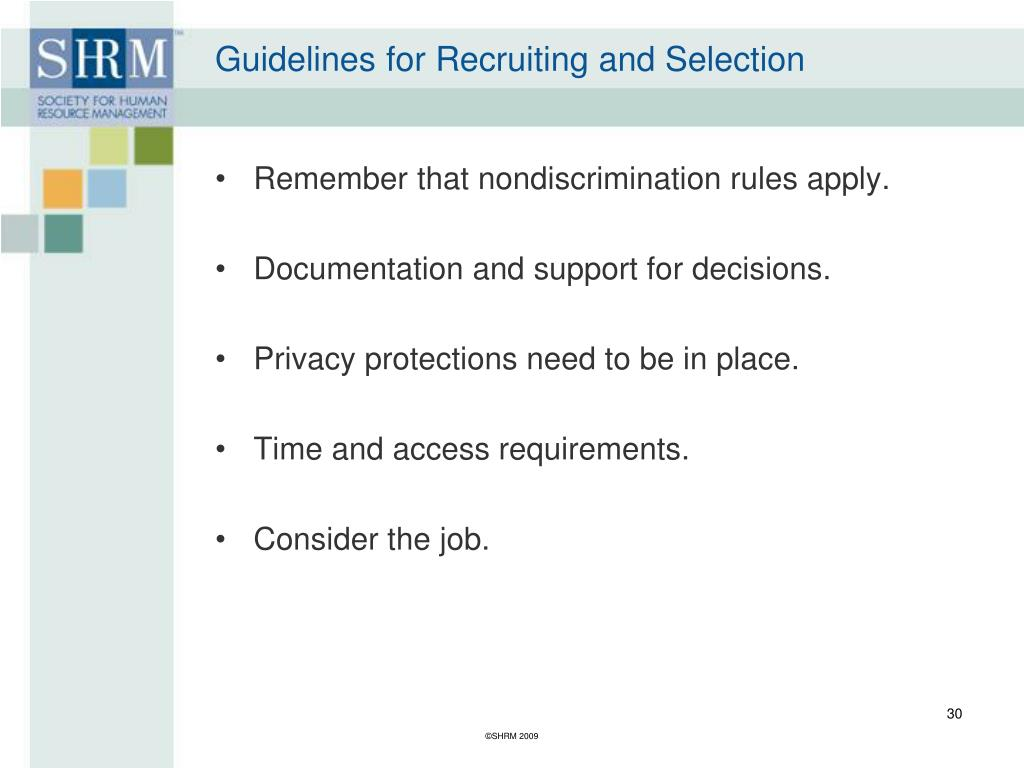 Guidelines for Recruiting and Selection
