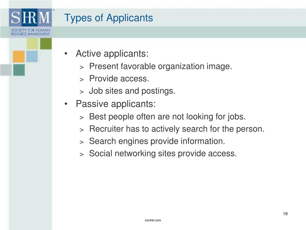 Types of Applicants