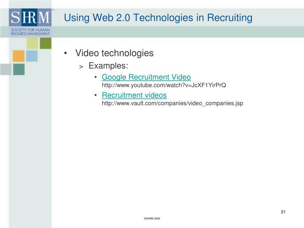 Using Web 2.0 Technologies in Recruiting