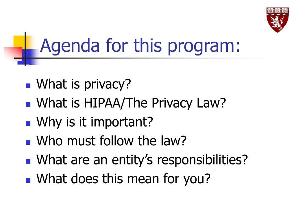 Agenda for this program: