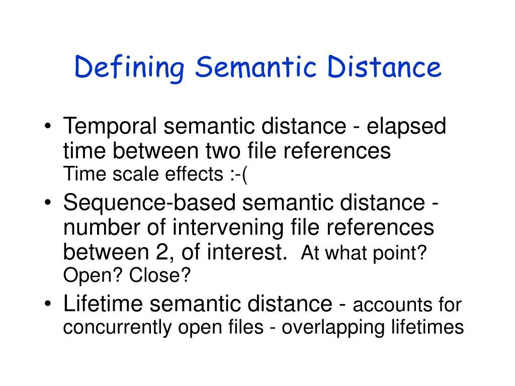 Defining Semantic Distance