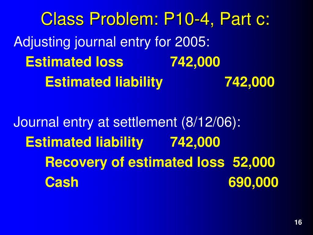 Adjusting journal entry for 2005: