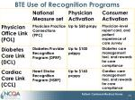 bte use of recognition programs