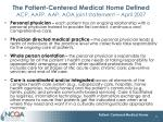 the patient centered medical home defined acp aafp aap aoa joint statement april 2007