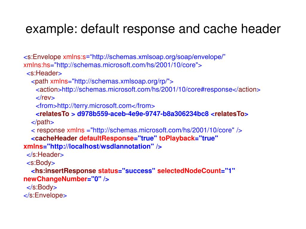 example: default response and cache header