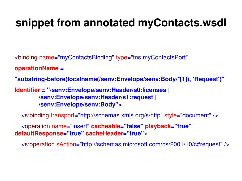 snippet from annotated myContacts.wsdl