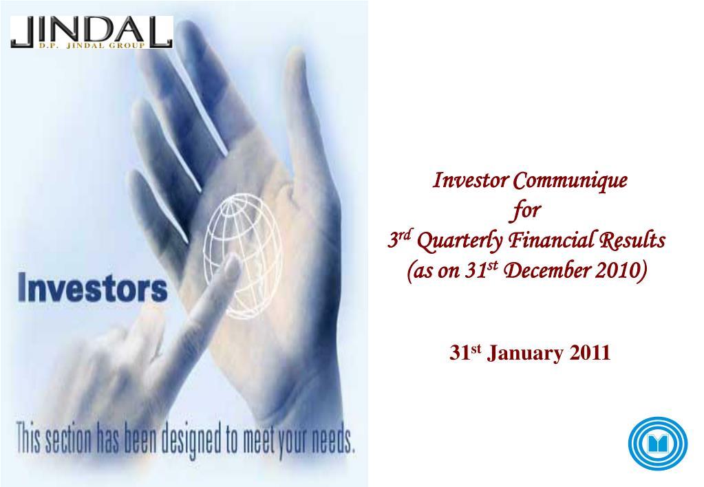 Investor Communique