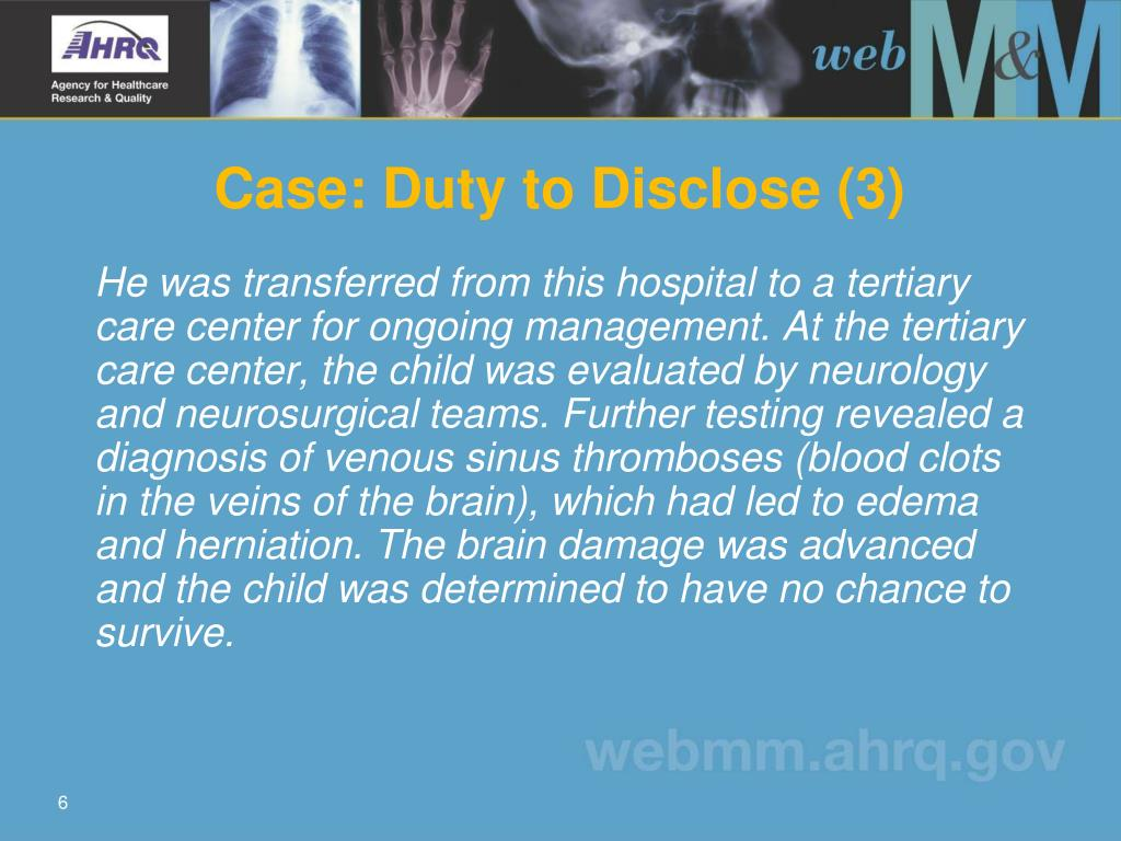 Case: Duty to Disclose (3)