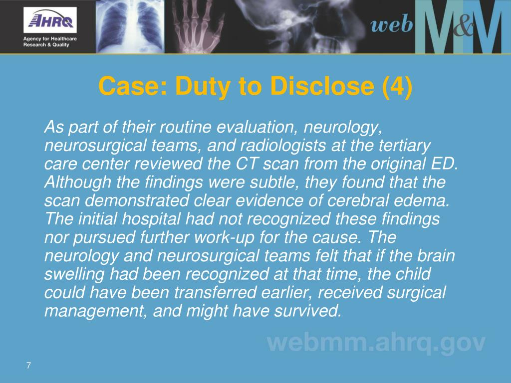 Case: Duty to Disclose (4)