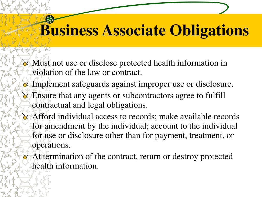 Business Associate Obligations