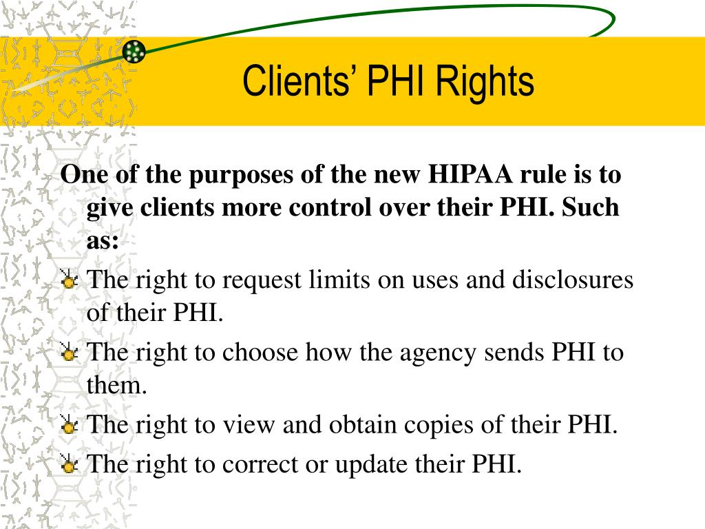Clients' PHI Rights