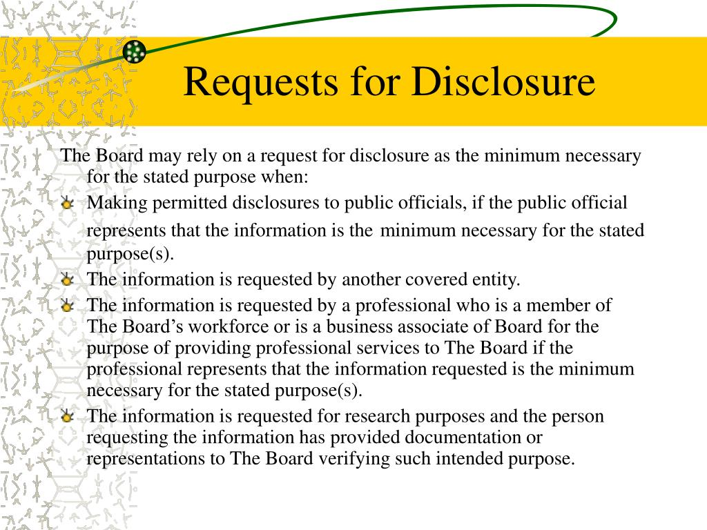 Requests for Disclosure