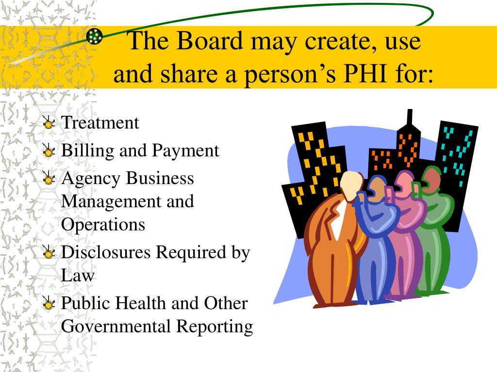 The Board may create, use