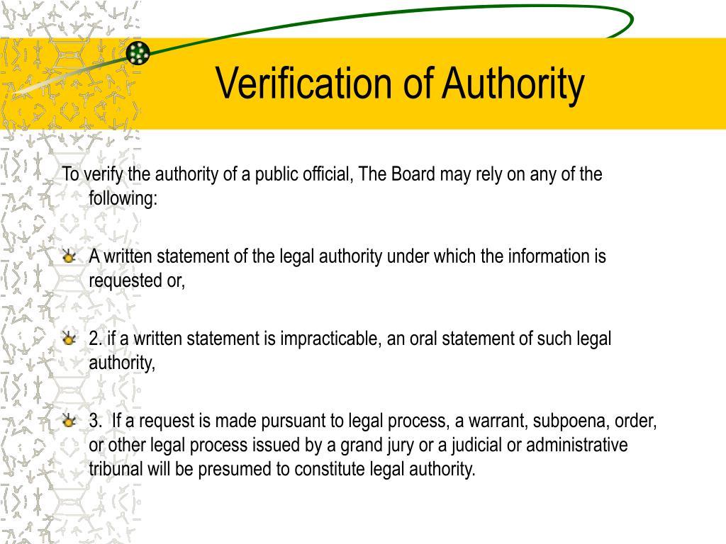 Verification of Authority