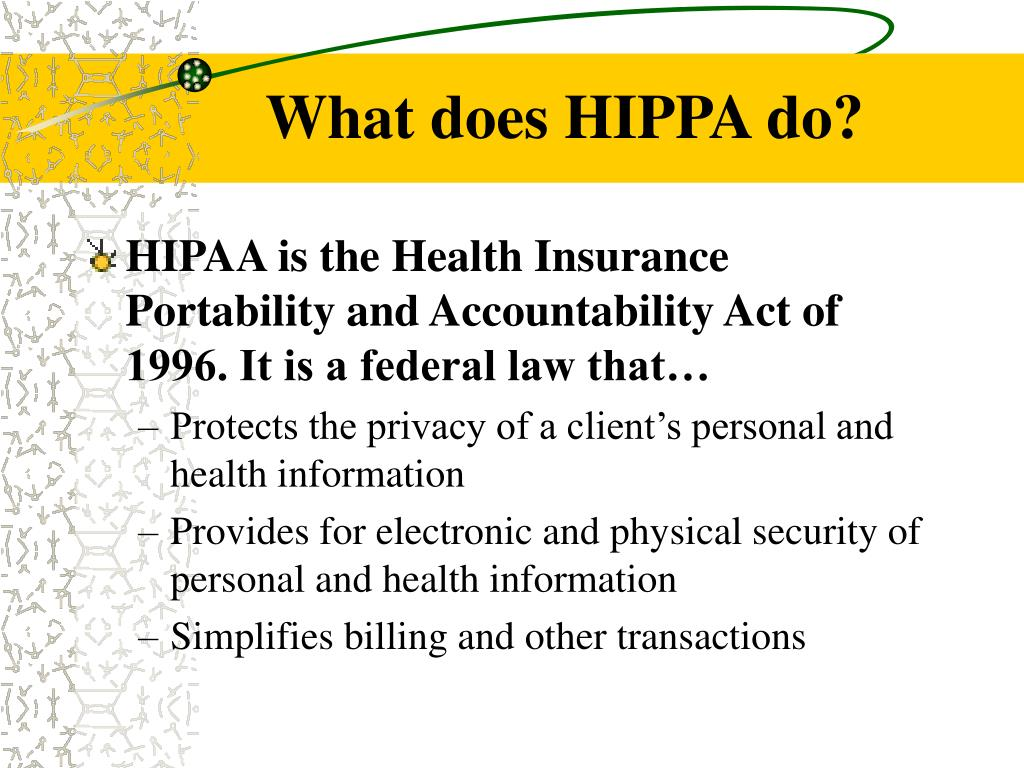 What does HIPPA do?