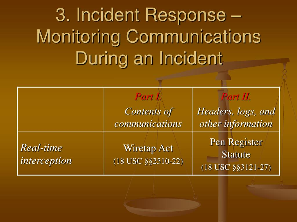 3. Incident Response – Monitoring Communications During an Incident