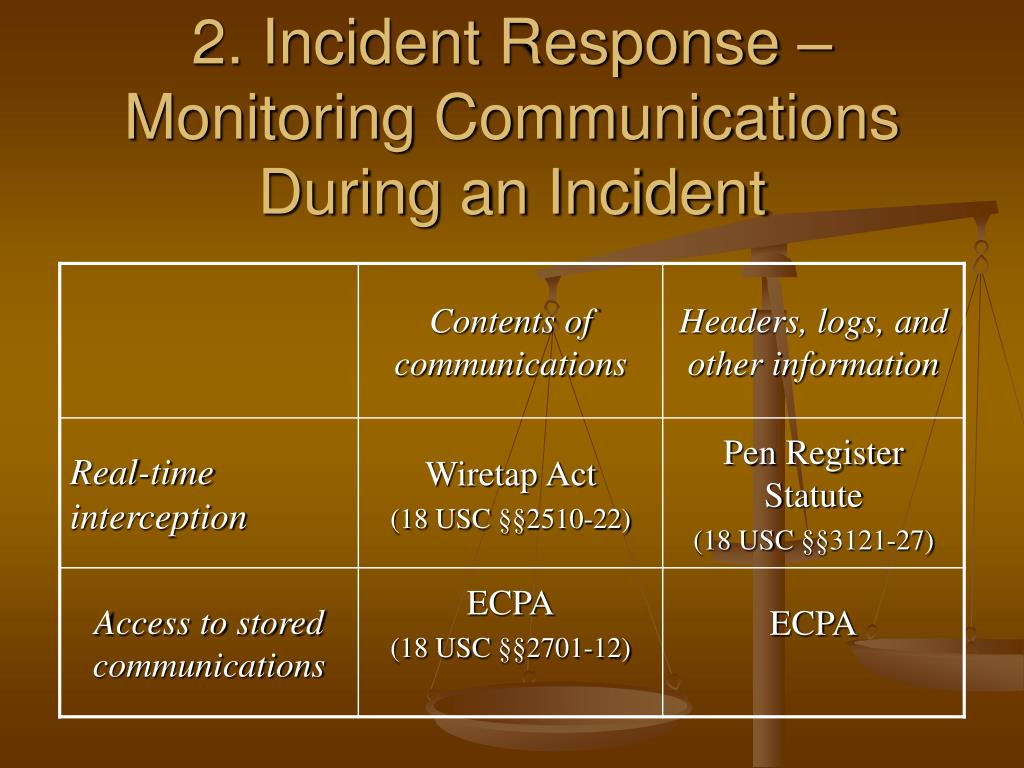 2. Incident Response – Monitoring Communications During an Incident