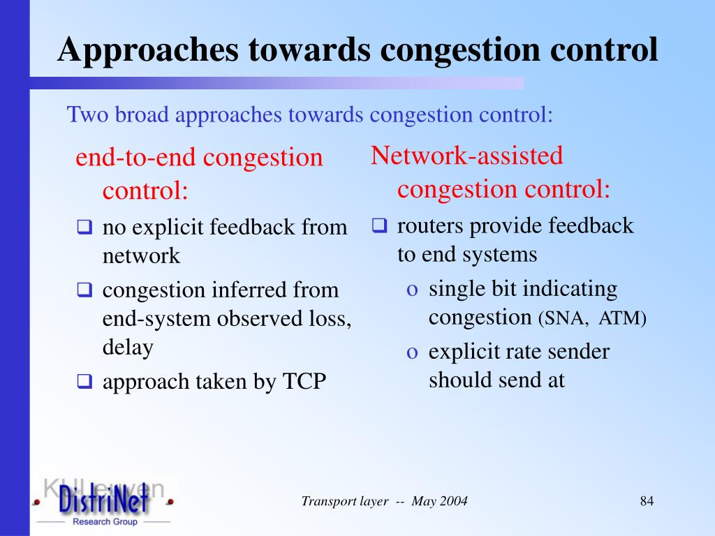 end-to-end congestion control: