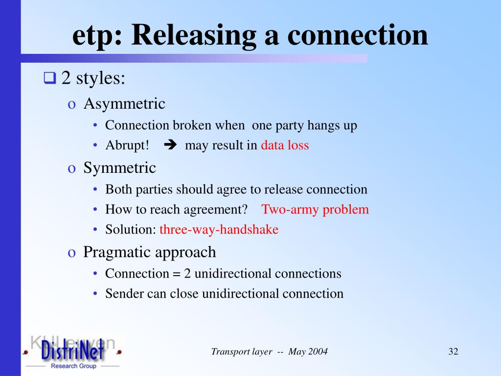 etp: Releasing a connection