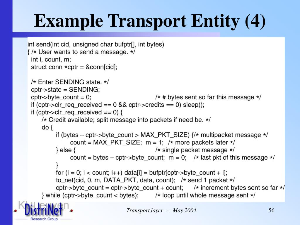 Example Transport Entity (4)
